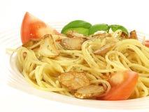 Spaghetti with baked garlic Stock Photos