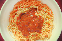 Spaghetti with barbeque sausage Stock Image