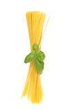 Spaghetti and basil Royalty Free Stock Photography