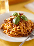 Spaghetti with basil garnish in meat sauce Stock Images