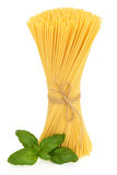 Spaghetti and Basil Herb Stock Image