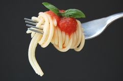 Spaghetti and basil leaf Royalty Free Stock Image