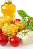 Spaghetti, basil,mozzarella and tomatoes Royalty Free Stock Image