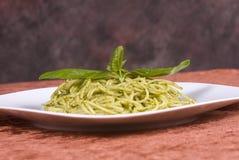Spaghetti with basil pesto Royalty Free Stock Photography