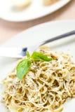 Spaghetti with basil pesto Royalty Free Stock Photos