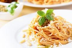 Spaghetti with basil pesto Stock Image