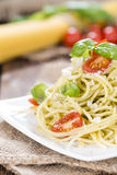 Spaghetti with basil Pesto Stock Photo