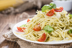 Spaghetti with basil Pesto Stock Image