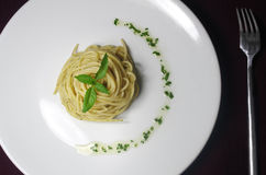 Spaghetti. The spaghetti with basil sauce Royalty Free Stock Photography