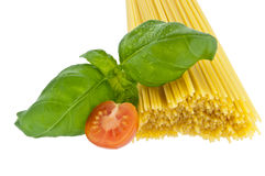 Spaghetti with basil and tomato Royalty Free Stock Photo