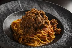 Spaghetti with beef sauce royalty free stock photos