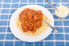 Spaghetti with Beef and Sausage Sauce Stock Image