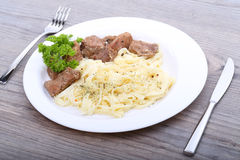 Spaghetti with beef on the table Stock Photo
