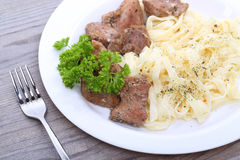 Spaghetti with beef on the table Royalty Free Stock Photos