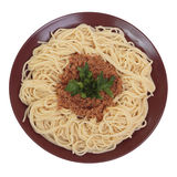 Spaghetti with beef and tomato ragu. Stock Image