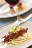 Spaghetti with beef and tomato sauce Royalty Free Stock Images