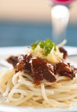 Spaghetti with beef and tomato sauce Stock Photography