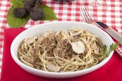 Spaghetti with black truffles Stock Photo