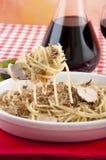 Spaghetti with black truffles Royalty Free Stock Photo