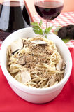 Spaghetti with black truffles Royalty Free Stock Images