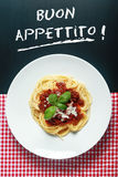 Spaghetti Bolognaise with Buon Appetito Sign Stock Photography