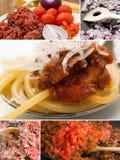 Spaghetti bolognaise collage Royalty Free Stock Photos