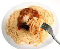 Spaghetti bolognaise eating Stock Photo