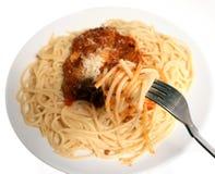 Spaghetti bolognaise eating Stock Photo