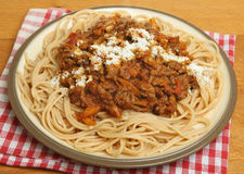 Spaghetti Bolognaise with Grated Parmesan Cheese Stock Images
