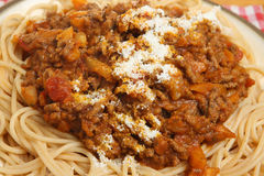 Spaghetti Bolognaise with Parmesan Cheese Royalty Free Stock Photos
