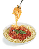 Spaghetti bolognese. On white Royalty Free Stock Image