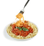 Spaghetti bolognese. On white Royalty Free Stock Images