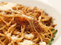 Spaghetti bolognese. Meal on isolated background stock photo