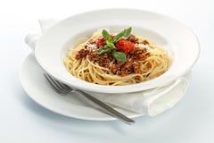 Spaghetti Bolognese. On white background Stock Image