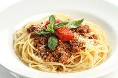 Spaghetti Bolognese. On white background Stock Photography