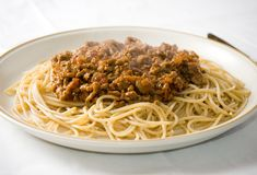 Spaghetti bolognese 2. A freshly cooked plate of spaghetti bolognese royalty free stock photo