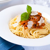 Spaghetti Bolognese. Spaghetti with bolognese sauce and parmesan Royalty Free Stock Photo