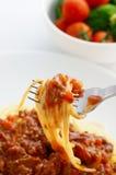 Spaghetti Bolognese. Twirled spaghetti bolognese around the fork Stock Photos