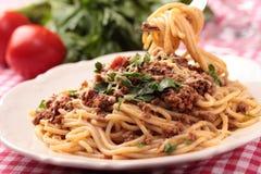 Spaghetti bolognese. Spaghetti alla bolognese on a rustic table Stock Photography
