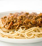 Spaghetti bolognese 3. A close up of a spaghetti bolognese dish royalty free stock image