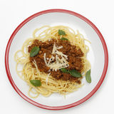 Spaghetti bolognese from above Stock Photos