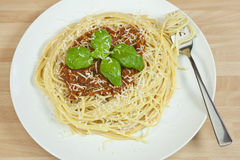 Spaghetti Bolognese, Basil Garnish,Grated Parmesan Royalty Free Stock Photo