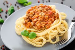 Spaghetti bolognese with basil leave Stock Photography