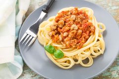 Spaghetti bolognese with basil leave Royalty Free Stock Image