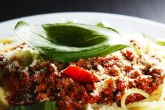 Spaghetti bolognese with basil Stock Photo