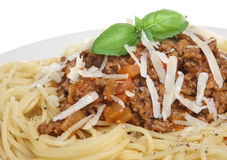 Spaghetti Bolognese or Bolognaise. Spaghetti bolognaise with grated Parmesan cheese and ground pepper Stock Image