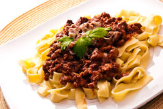 Spaghetti bolognese with cheese Stock Photo