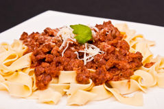 Spaghetti bolognese with cheese Stock Images