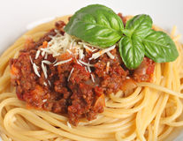 Spaghetti bolognese close-up Royalty Free Stock Photo