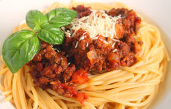 Spaghetti bolognese close-up Royalty Free Stock Photography